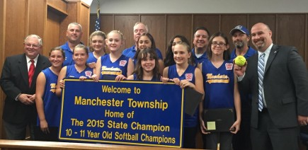 Manchester Mayor Ken Palmer (right) and the Township Council presented Certificates of Congratulations to the Girls Softball State Champions (10-11 year olds) at the Council Meeting on October 13th. Also pictured are the Championship Team Members and Coaches. A sign will be placed in the township to recognize the outstanding efforts of the Softball Team. Congratulations! Your town is proud of you!