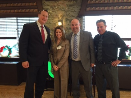 Pictured (L to R) are Brendan Weiner, Carol Trub, Mayor Palmer and Joel Wolf at the Caregiver Volunteers of Central Jersey Luncheon on December 3, 2015.