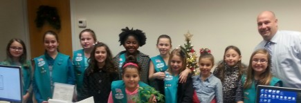 "Girl Scouts from Troop 109 of Manchester visited Mayor Palmer and the Manchester Municipal Building in December while working on their ""Inside Government"" badges. Mayor Palmer provided a tour of town hall and discussed his role in our local government."