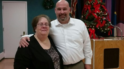 Leisure Village West's ORT President Renee Schertzer and Mayor Ken Palmer at the Holiday Luncheon and Installation in December 2015.