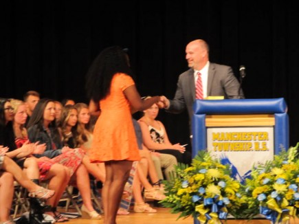 4577     Mayor Palmer presented Community Service and Future Municipal Leader Awards at Manchester Township High School 's Senior Recognition Night on June 2, 2016. Awards were presented to Maya Planter, Jacob James Florio, Isiah Sams, Ryan Vanderham and Mallory Wettengel.