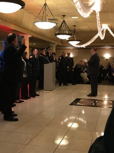 "Mayor Palmer administered the Oath of Office to members of the Ridgeway Volunteer Fire Company on Saturday, January 28th, 2017. The Fire Company's annual installation dinner was held at LaBove Grande. Mayor Palmer said, ""It's always an honor to attend, and extend appreciation on behalf of our residents, to our volunteer emergency service members."""